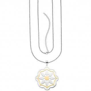 Collier Kette mit Anhänger Blume aus Edelstahl bicolor 80 cm