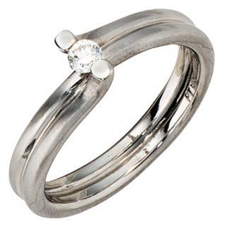 Damen Ring 950 Platin matt 1 Diamant Brillant 0, 11ct. Platinring