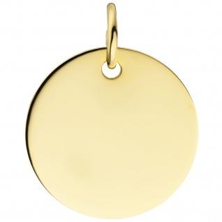 Anhänger Gravur Gravurplatte rund 585 Gold Gelbgold Goldanhänger