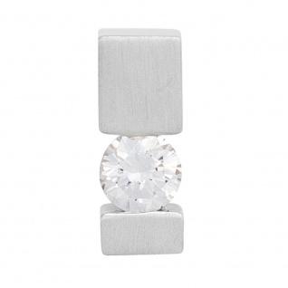 Anhänger 585 Gold Weißgold mattiert 1 Diamant Brillant 0, 15ct. Solitär