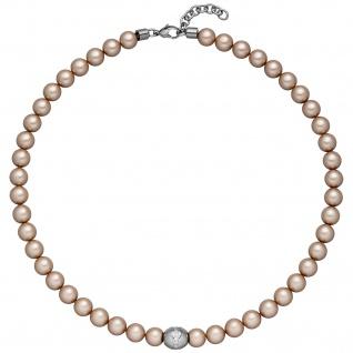 Collier Halskette Kristallsteine mit Edelstahl und Zirkonia 45 cm Kette