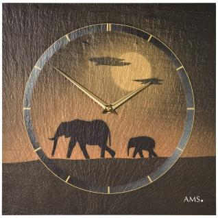 AMS 9523 Wanduhr Quarz Schiefer Naturschiefer Schieferuhr golden Elefanten