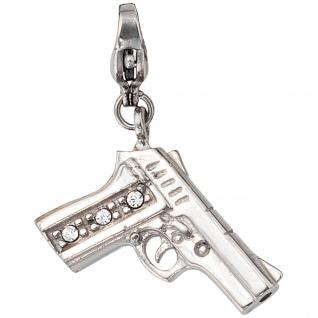 Einhänger Charm Pistole Edelstahl mit SWAROVSKI® ELEMENTS