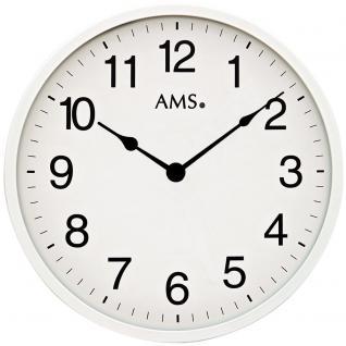 AMS 9494 Wanduhr Quarz analog weiß rund schlicht sehr flach