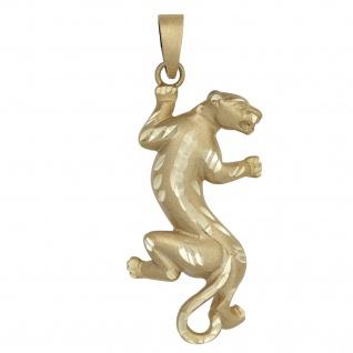 Anhänger Wildkatze 333 Gold Gelbgold mattiert Goldanhänger