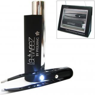 Pfeilring Pinzette, schwarz, mit eingebauter LED-Lampe, mit SWAROVSKI® ELEMENT