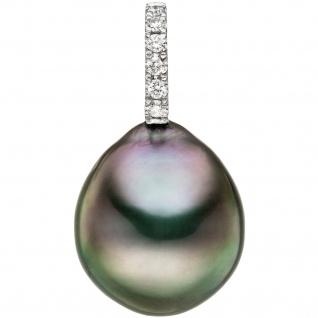 Anhänger 585 Gold Weißgold 6 Diamanten Brillanten 1 Tahiti Perle Perlenanhänger