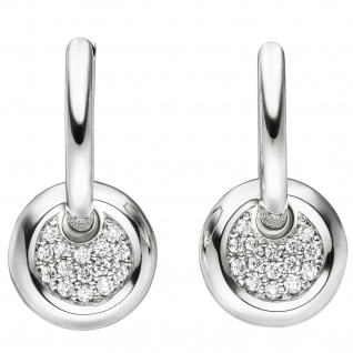 Creolen 585 Gold Weißgold 30 Diamanten Brillanten Ohrringe Diamantohrringe - Vorschau 1