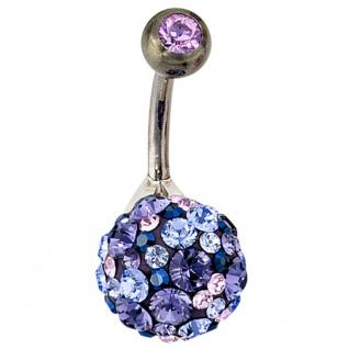 Bauchnabel Piercing 925 Silber mit SWAROVSKI® ELEMENTS blau Stab und Kugel Titan
