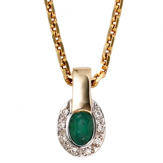 Anhänger oval 585 Gold Gelbgold bicolor 8 Diamanten Brillanten 1 Smaragd - Vorschau 3