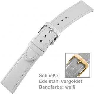 Uhrenarmband Ladies 20 mm Kalbsleder weiß mit Schließe aus Edelstahl vergoldet