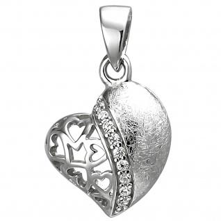 Anhänger Herz 925 Sterling Silber eismatt 9 Zirkonia Herzanhänger Silberanhänger