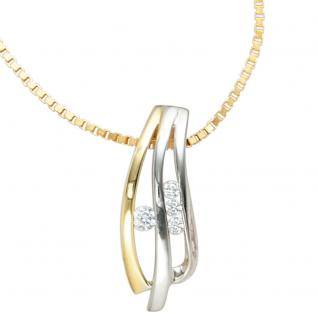 Anhänger 925 Sterling Silber rhodiniert bicolor vergoldet 4 Zirkonia - Vorschau 3