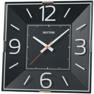 Rhythm 7493/7 Wanduhr Quarz analog schwarz eckig mit Glas