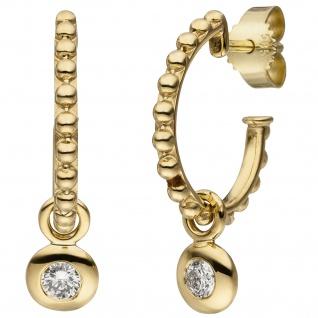Ohrhänger 585 Gold Gelbgold 2 Diamanten Brillanten Ohrringe Goldohrringe