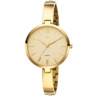 JOBO Damen Armbanduhr Quarz Analog Titan vergoldet Damenuhr