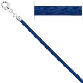 Collier Halskette Seide blau 2, 8 mm 42 cm, Verschluss 925 Silber Kette