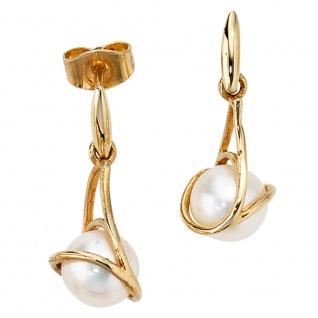 Ohrhänger 585 Gold Gelbgold 2 Süßwasser Perlen Ohrringe Perlenohrringe