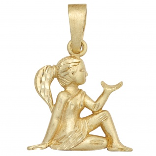 Anhänger Sternzeichen Jungfrau 585 Gold Gelbgold matt Sternzeichenanhänger