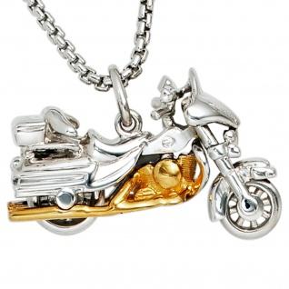Anhänger Motorrad 925 Sterling Silber rhodiniert bicolor vergoldet - Vorschau 2