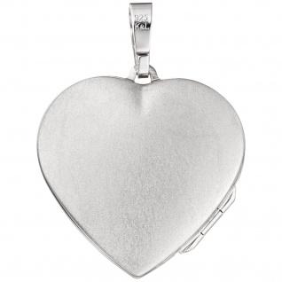 Medaillon Herz 925 Sterling Silber Perlmutt Einlage Anhänger zum Öffnen - Vorschau 2