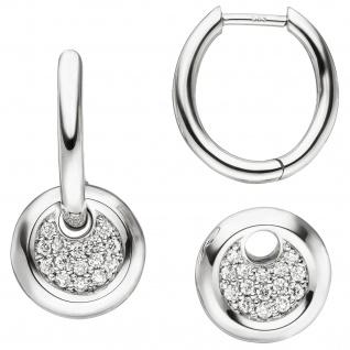 Creolen 585 Gold Weißgold 30 Diamanten Brillanten Ohrringe Diamantohrringe - Vorschau 2