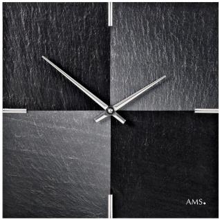 AMS 9520 Wanduhr Quarz Schiefer Naturschiefer mit Aluminium Schieferuhr Schach