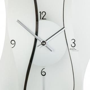 AMS 7246 Wanduhr Quarz mit Pendel modern geschwungen Pendeluhr mit Glas - Vorschau 2
