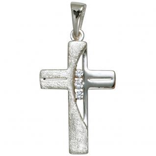 Anhänger Kreuz 925 Sterling Silber eismatt 3 Zirkonia Kreuzanhänger Silberkreuz