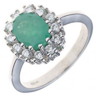 Damen Ring 925 Sterling Silber rhodiniert 1 Smaragd und Zirkonia Silberring