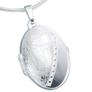 Medaillon oval 925 Sterling Silber eismatt Anhänger zum Öffnen - Vorschau 4