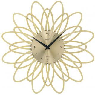 AMS 9361 Wanduhr Quarz analog golden modern florales Design - Vorschau 1