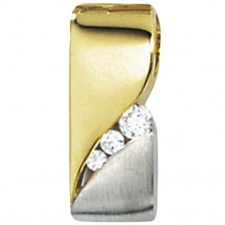Schmuck-Set 333 Gold Gelbgold bicolor 7 Zirkonia Ohrringe und Kette 45 cm - Vorschau 4