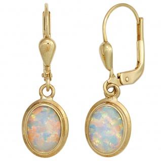 Boutons oval 333 Gold Gelbgold 2 Opale Ohrringe Ohrhänger Goldohrringe