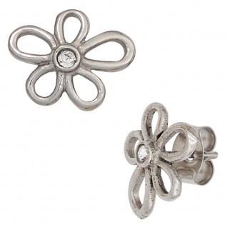 Ohrstecker Blume Edelstahl mit Kristallsteinen Ohrringe - Vorschau