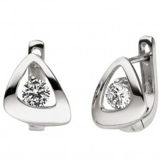 Creolen 925 Sterling Silber 2 Zirkonia Ohrringe Silbercreolen Silberohrringe