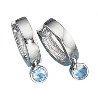 Creolen 925 Silber 2 Zirkonia blau Ohrringe Silberohrringe Silbercreolen