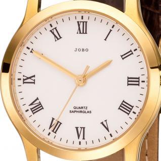 JOBO Damen Armbanduhr Quarz Analog Edelstahl gold vergoldet Leder Damenuhr - Vorschau 2