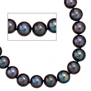 Collier Perlenkette Süßwasser Perlen dunkel 50 cm Halskette Kette