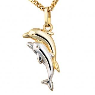 Kinder Anhänger Delfin Delfine 333 Gold bicolor Kinderanhänger Delfinanhänger - Vorschau 2