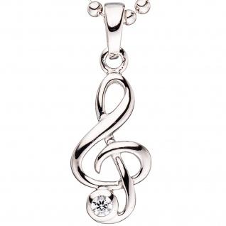 Kinder Anhänger Notenschlüssel Musik 925 Silber 1 Zirkonia Kinderanhänger - Vorschau 2