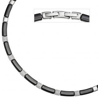 Collier Halskette aus schwarzer Keramik mit Edelstahl und Zirkonia 47 cm Kette - Vorschau 2