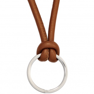 Collier Halskette Leder braun mit Ring aus Edelstahl 45 cm Kette Lederkette