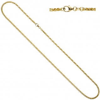 Zopfkette 585 Gelbgold Weißgold bicolor 1, 9 mm 45 cm Gold Kette Goldkette