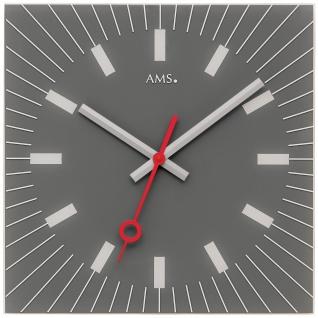 AMS 9577 Wanduhr Quarz analog Glas grau eckig leise ohne Ticken