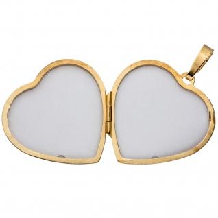Medaillon Herz für 2 Fotos 925 Silber gold vergoldet Anhänger zum Öffnen - Vorschau 3