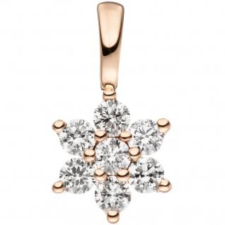 Anhänger 585 Gold Rotgold 7 Diamanten Brillanten Goldanhänger Brillantanhänger