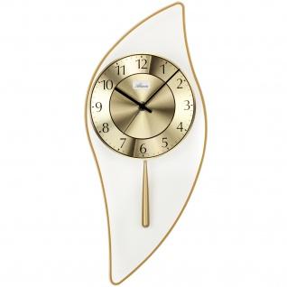 Atlanta 5009/9 Wanduhr Quarz mit Pendel golden Pendeluhr mit Glas modern