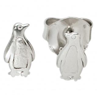 Kinder Ohrstecker Pinguin 925 Sterling Silber mattiert Ohrringe Kinderohrringe