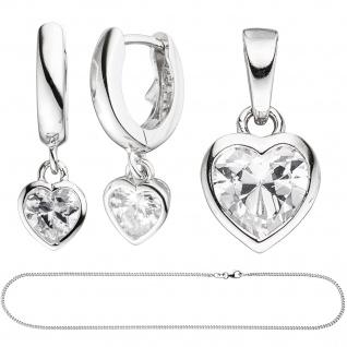 Kinder Schmuck-Set Herz 925 Silber mit Zirkonia Anhänger Ohrringe Kette 38 cm - Vorschau 2